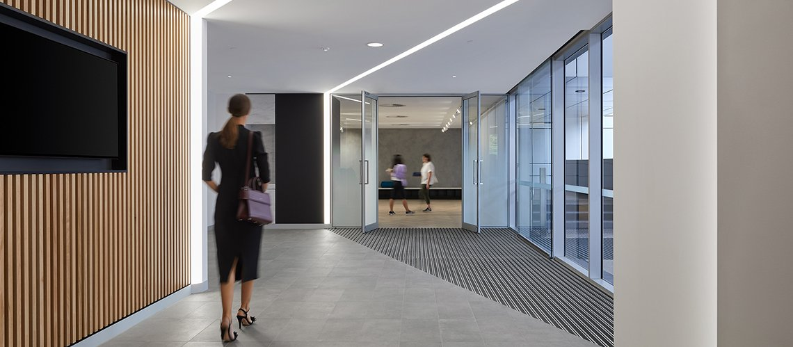 240 St Georges End-of-Trip facility and tower lobbies,  - A Workplace project for DEXUS Property Group by Hames Sharley