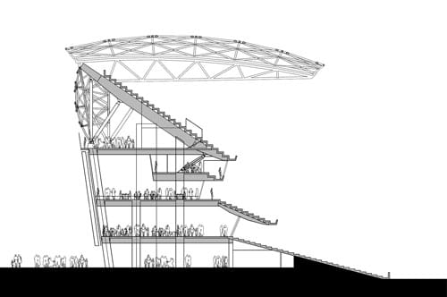 Architectural drawing of the Adelaide Oval stadium.