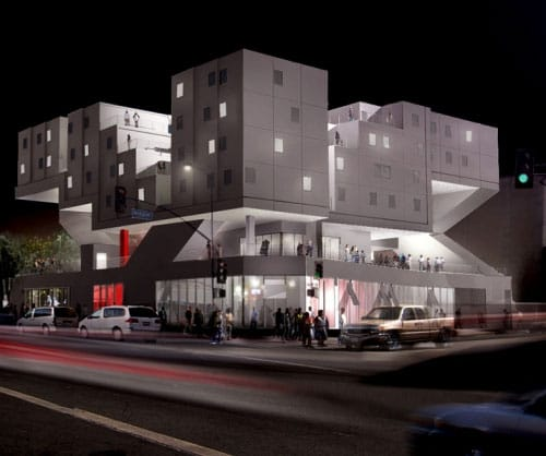 Star Apartments for the homeless comprise prefabricated modules designed by Michael Maltzan Rendering @MichaelMaltzan.