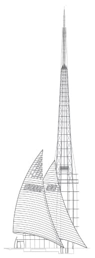 Elevation drawing of the Swan River Bell Tower