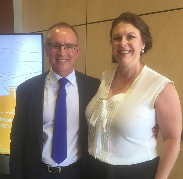 Hames Sharley's Saralee Auferheide with SA Premier Jay Weatherill.