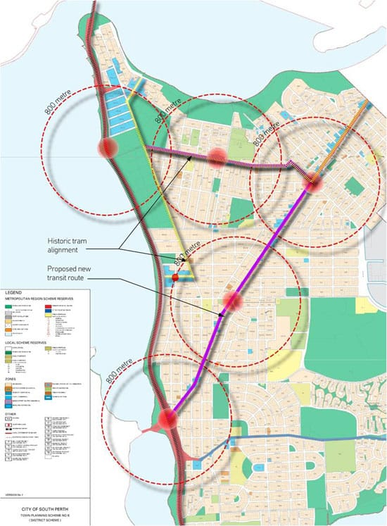 The current South Perth Town Planning Scheme. Superimposed over it is a plan showing the historic tram route and a suggested light rail route down Canning Highway.