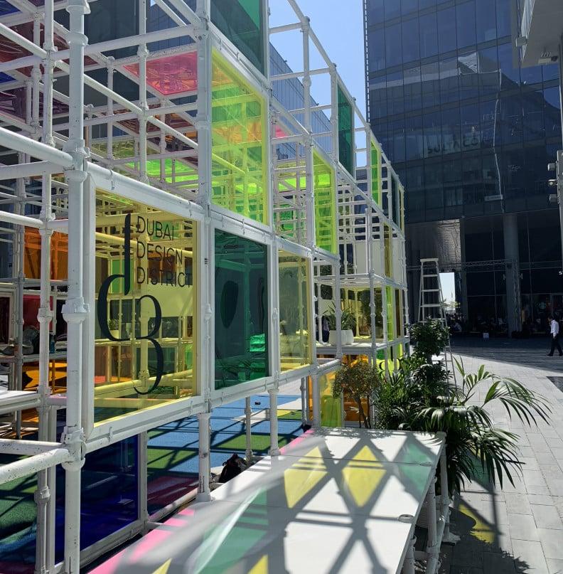 The DXB Dubai Design Week main hub; the Dubai Design District