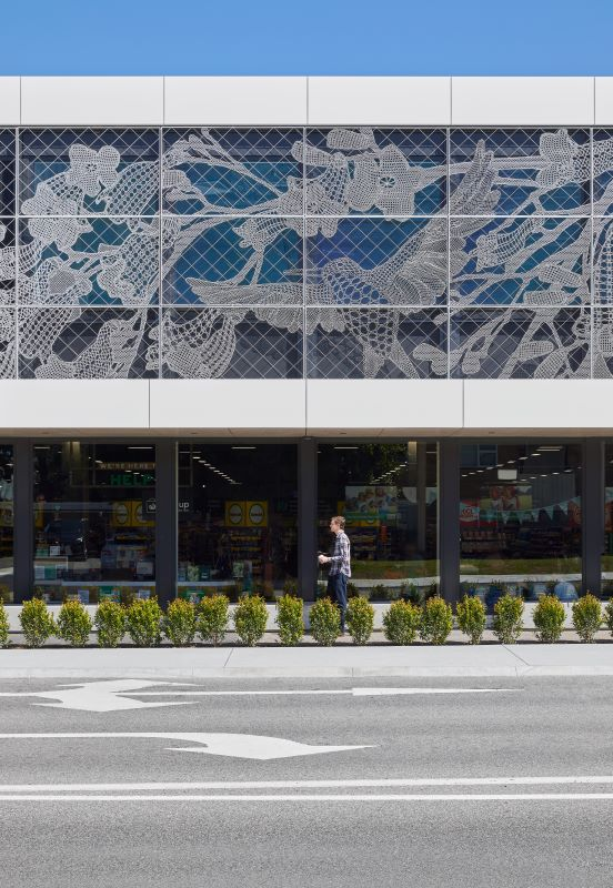 The lace artwork at Mount Pleasant Woolworths in Western Australia by Paula Hart