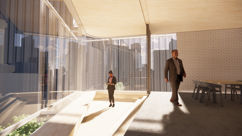 Interior rendering of the new Hames Sharley Perth Studio in the CBD