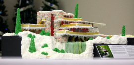 A gingerbread replica of Fallingwater by Frank Lloyd Wright's