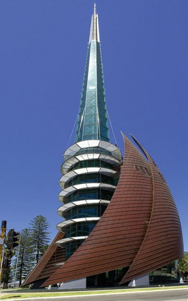 Side view of the Swan Bells - Hames Sharley Public Architecture