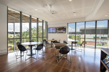 High ceilings, floor-to-ceiling glazing, cool timber floors and deep external shading creates high-quality internal spaces.