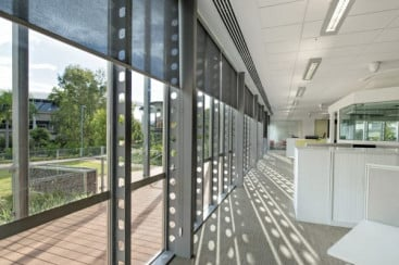 Structural columns within the building have been replaced with a structural façade that maintains a light appearance.