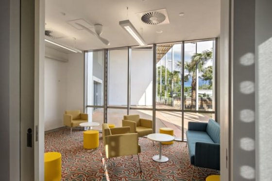 Quieter meeting areas have carpeted floors.
