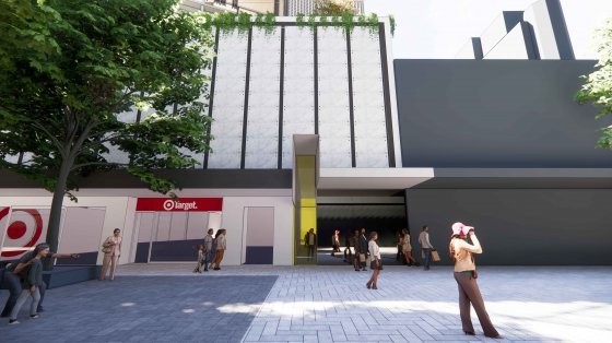 Ground-level rendering of the new Hames Sharley offices in the Perth CBD